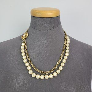 Stella & Dot Gold Pearl Chain Necklace